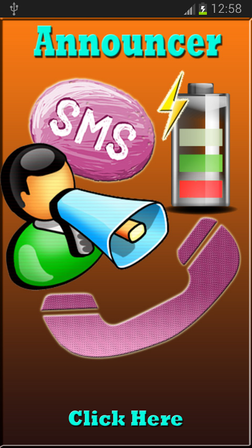 Call SMS Battery Announcer - screenshot
