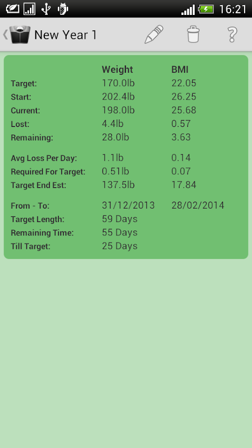 Weight Loss Tracker - screenshot