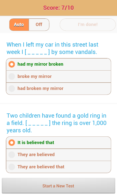 1800 Grammar Tests (Free) - screenshot
