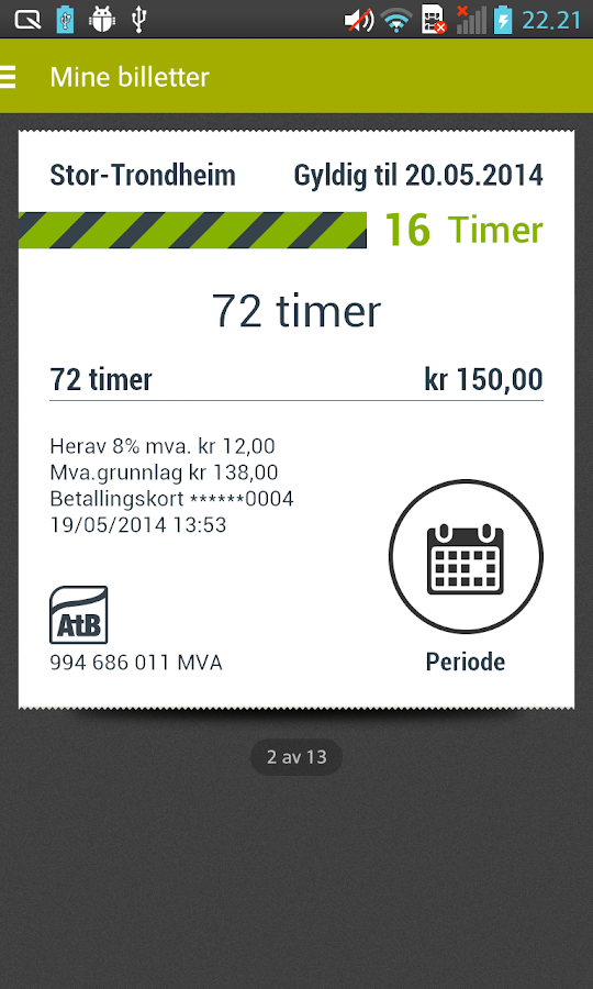 AtB Mobillett- screenshot