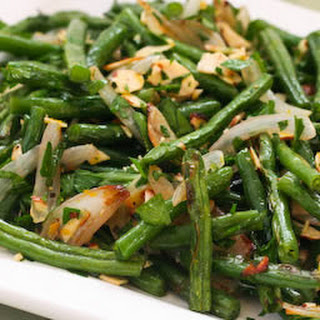 Garlic-Roasted Green Beans with Shallots and Almonds.