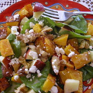 Roasted Butternut Squash, Spinach and Apple Salad with Walnuts and Feta.