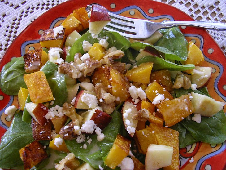 Roasted Butternut Squash, Spinach and Apple Salad with Walnuts and Feta Recipe