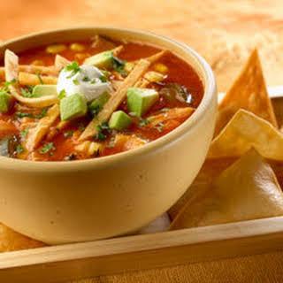 Chicken & Roasted Vegetable Tortilla Soup.