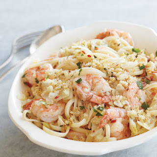 Linguine, Shrimp & Endive with Bread Crumbs