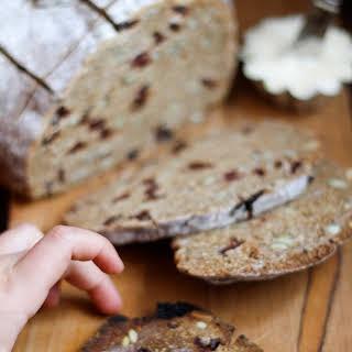 Rye Toasting Bread with Dried Cherries & Pumpkin Seeds.