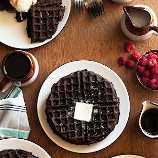 Dark Chocolate Zucchini Cake Waffles