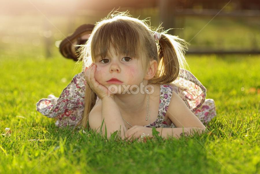 Grumpy by Giselle Pierce - Babies & Children Children Candids ( child, little girl, girl, children, summer, green grass )
