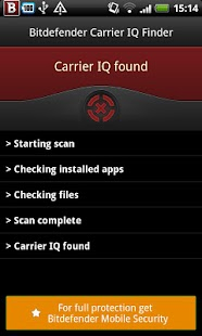 Bitdefender Carrier IQ Finder- screenshot thumbnail