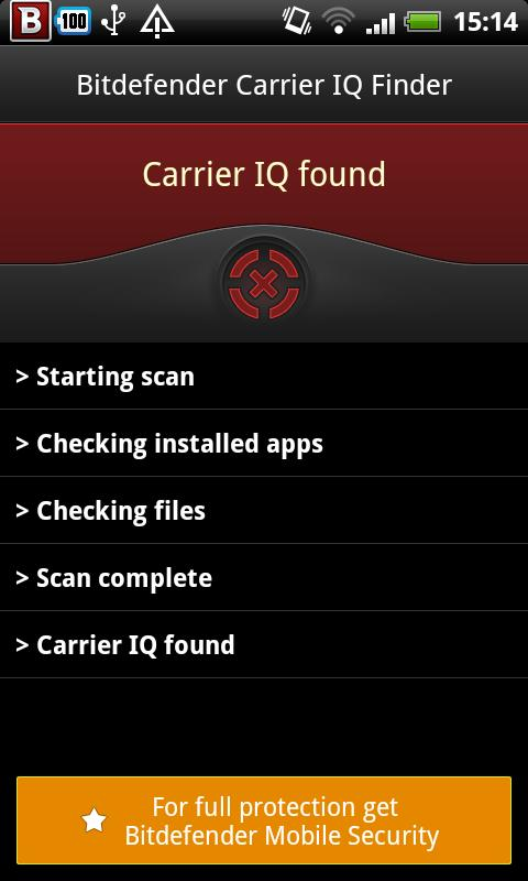 Bitdefender Carrier IQ Finder- screenshot