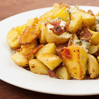 Garlic-Roasted Baby Potatoes with Blue Cheese and Bacon.