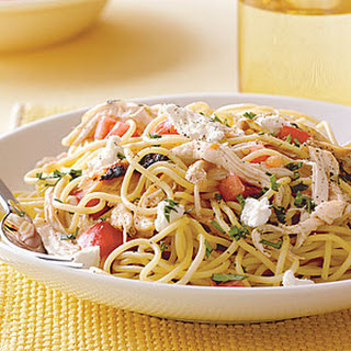 Speedy Spaghetti with Chicken and Fresh Tomato.