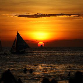 Boracay Sunset by Leyon Albeza - Landscapes Sunsets & Sunrises ( sailing, silhouette, beach, sun,  )