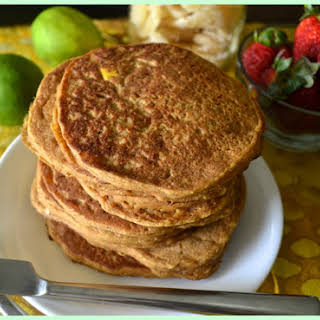 Sugar and Oil Free Mango Lime Pancakes with Ginger and Coconut [Vegan].