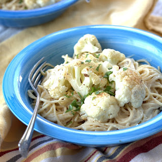 Roasted Cauliflower Pasta with Hummus Sauce