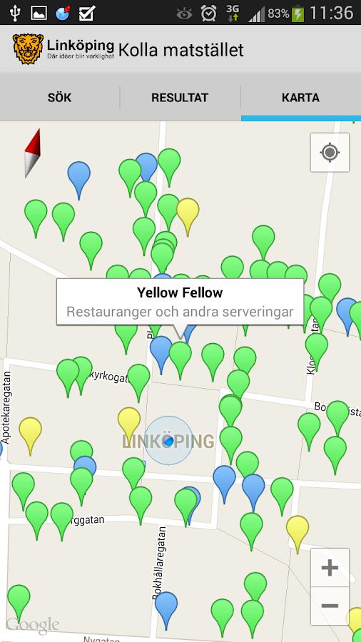 Kolla Matstället- screenshot