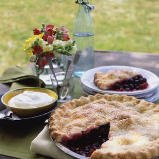 Three-Berry Pie with Vanilla Cream