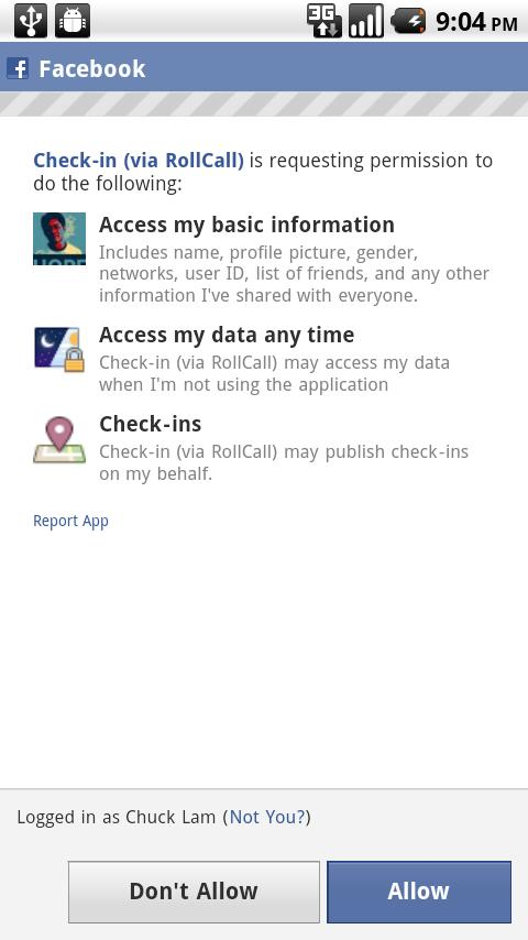 RollCall Check-in for Facebook - screenshot