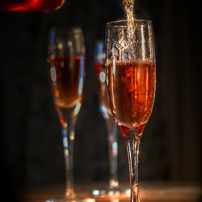 Fine Wine by Sandra Hilton Wagner - Food & Drink Alcohol & Drinks ( wine, bottle pouring, goblets, romance,  )