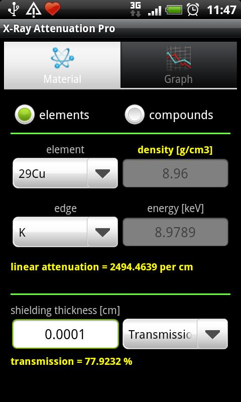 X-Ray Attenuation Calculator- screenshot