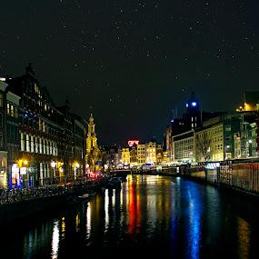 The lights of Amsterdam... by Avishek Patra - City,  Street & Park  Night ( night photography, stars, night, amsterdam, canal, netherlands, nightlife, nightscape, , colorful, mood factory, vibrant, happiness, January, moods, emotions, inspiration )