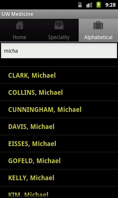 UW Medicine Clinical Directory- screenshot