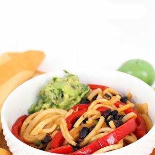 Black Bean and Avocado-Jalapeno Turnip Noodle Bowl