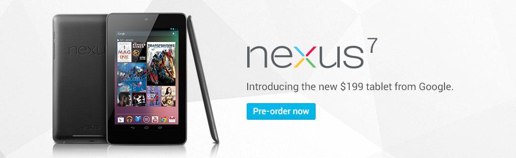 Nexus 7 standing up showing it's display