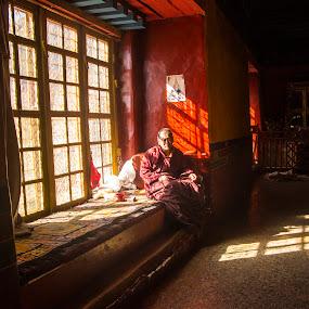 Tibetan sadness by Nguyen Kien - People Street & Candids ( shadow, sad, tibetan, tibet, sun )