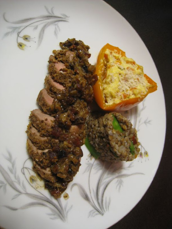 Andouille Crusted Duck, with Ricotta Stuffed Sweet Pepper, and Spicy Kasha with Sweet Snow Peas Recipe