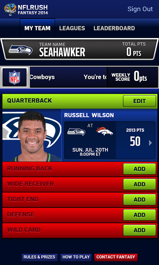 NFLRUSH Fantasy Football - screenshot