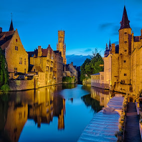 Historic Beauty by CK Lam - City,  Street & Park  Historic Districts ( europe, blue hour, historic town, belfort, bruges, long exposure, rozenhoedkaai, belgium, brugge, canal, belfry of bruges )