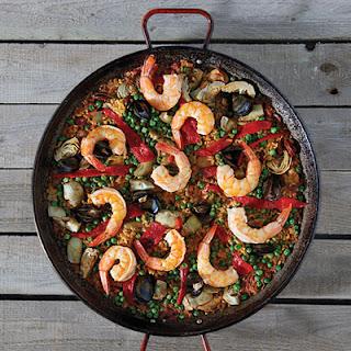 Paella Mixta (Paella with Chorizo, Chicken, and Shrimp)
