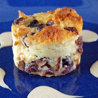 Cranberry Bread Pudding with Pumpkin Spiced Creme Anglaise.