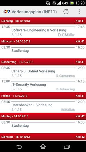 Vorlesungsplan-App Mosbach