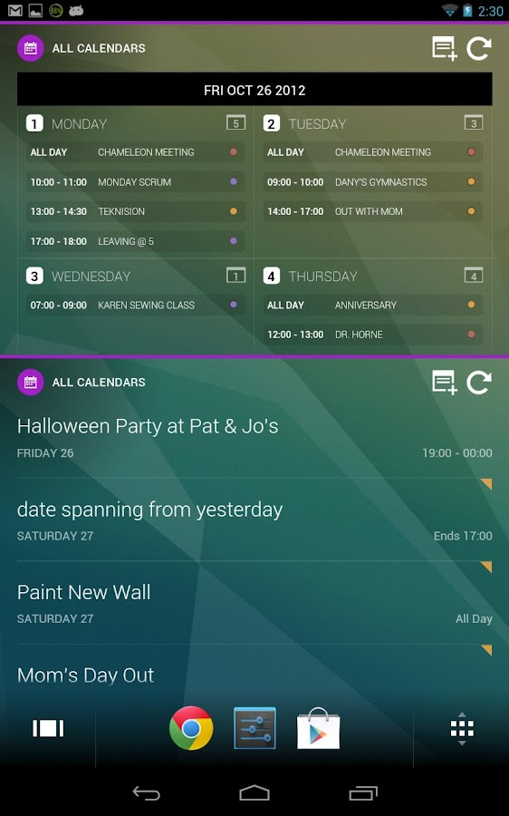 Chameleon Calendar Add-In - screenshot