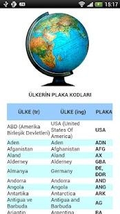 Ülkelerin Plaka Kodları- screenshot thumbnail