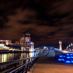 Media City, Salford, Manchester, UK by Norman Stewart - City,  Street & Park  Night