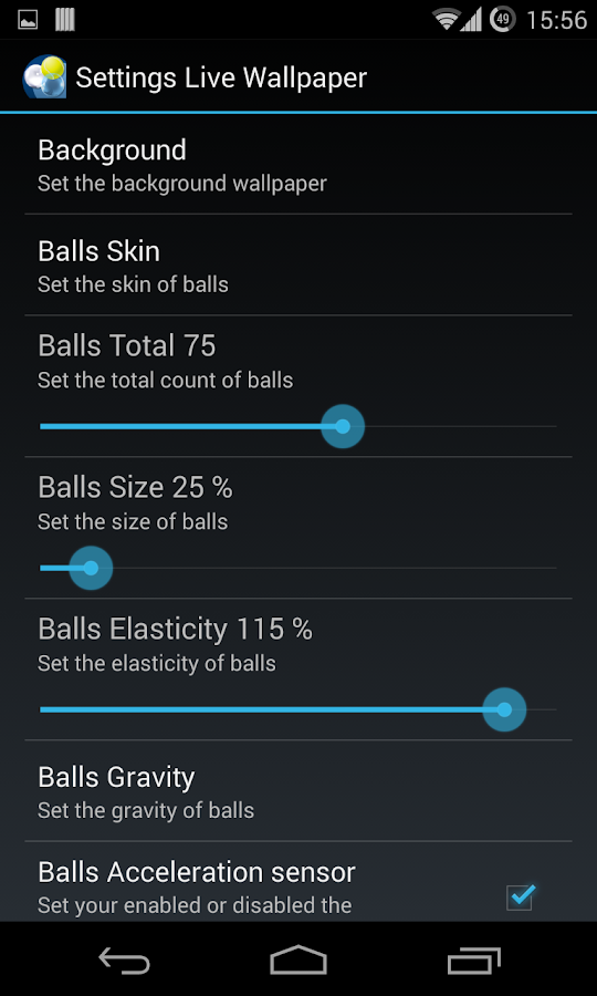 H Screen Balls Live Wallpaper- screenshot