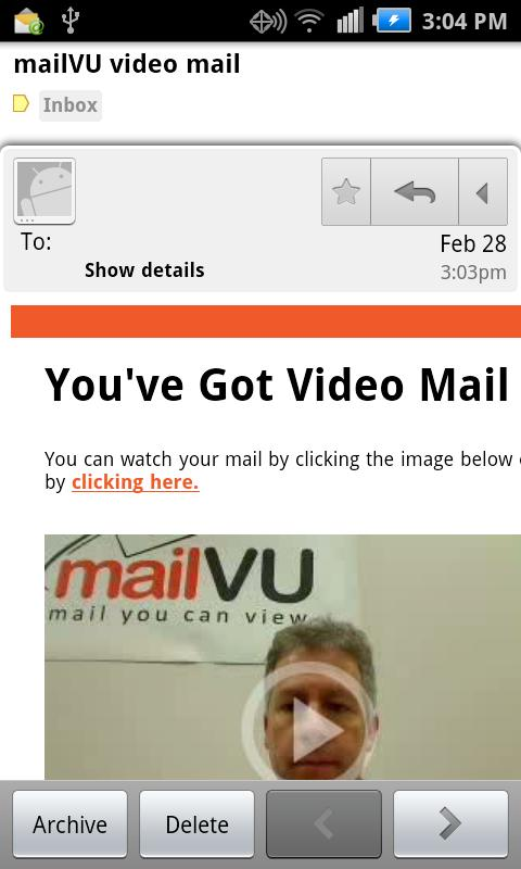 mailVU Video Sharing- screenshot