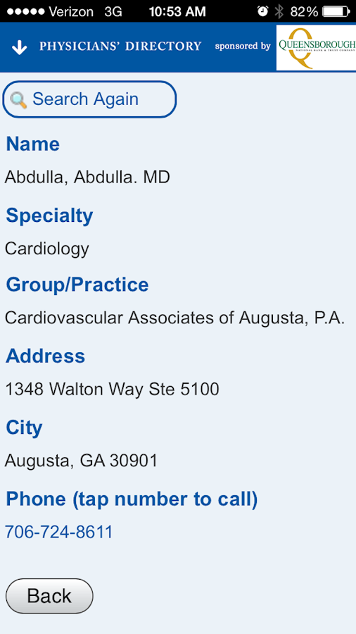 Augusta Physicians' Directory- screenshot