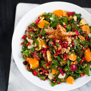 Christmas Tree Salad - aka Raw Chard Pecan Pom Salad
