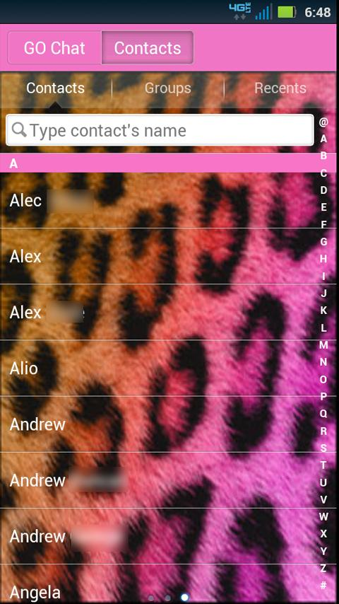 GO SMS Cheetah Pretty Theme - screenshot