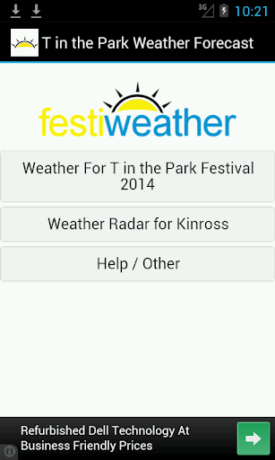 T in the Park Weather Forecast