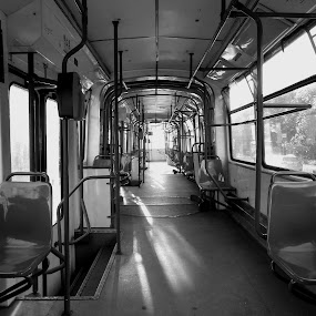 Empty Tram by Vicenţiu Busuioc - Transportation Other ( chairs, black and white, bars, empty, tram, seats,  )