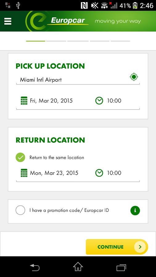 My Car Rental Reservation On April
