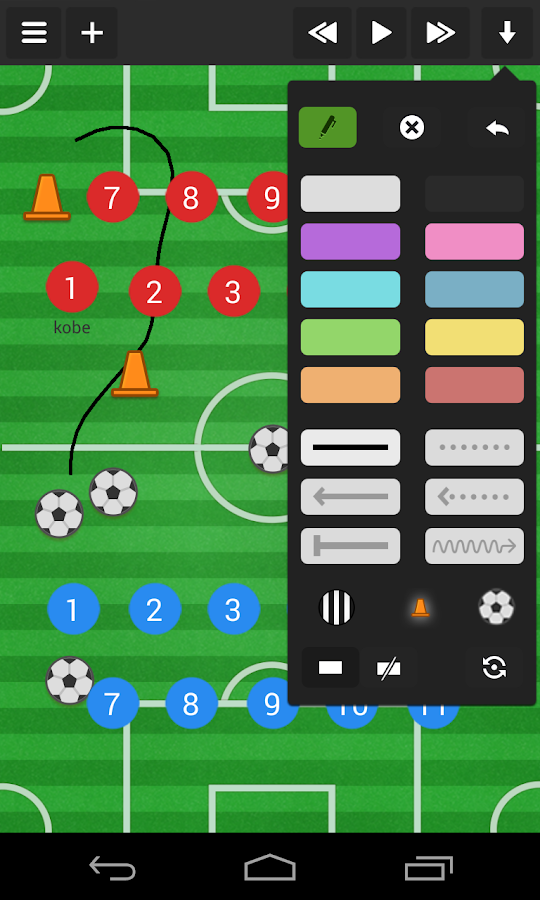 Soccer coach's clipboard- screenshot