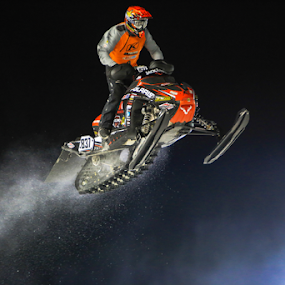 Big Air by Kenton Knutson - Sports & Fitness Motorsports ( snocross, winter, snowmobile, snow, night, snocross racing, snow dust,  )