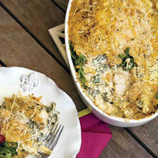 Oyster, Bacon and Swiss Chard Gratin.