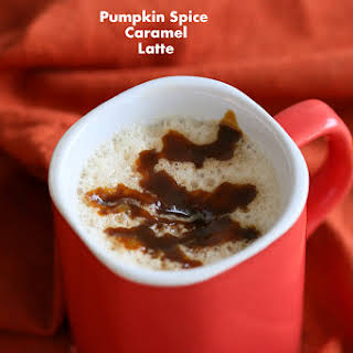 Vegan Pumpkin Spice Caramel Latte.